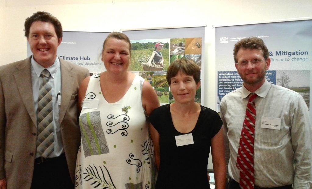 USDA Climate Hub staff at the 2016 North American Symposium on Climate Adaptation, New York City, 8/17/2016. From L: Dan Dostie (NRCS; NE Hub); Lynn Knight (NRC, NE Hub); Amber Kerr (UC Davis; CA Hub); Todd Ontl (FS; Northern Forests Hub).